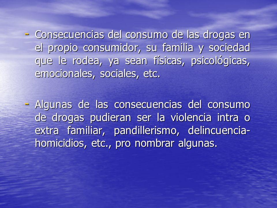 - Consecuencias del consumo de las drogas en el propio consumidor, su familia y sociedad que le rodea, ya sean físicas, psicológicas, emocionales, soc