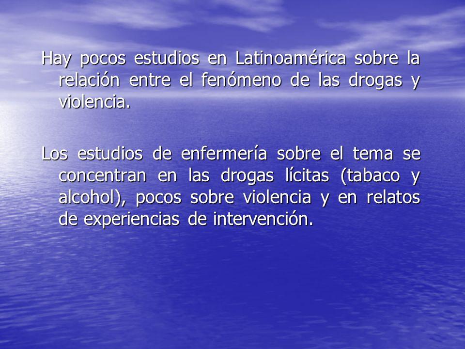 Hay pocos estudios en Latinoamérica sobre la relación entre el fenómeno de las drogas y violencia. Los estudios de enfermería sobre el tema se concent