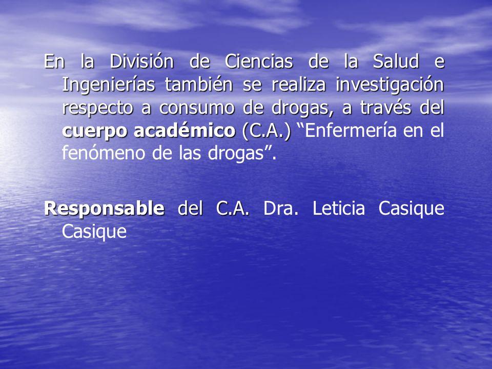 En la División de Ciencias de la Salud e Ingenierías también se realiza investigación respecto a consumo de drogas, a través del cuerpo académico (C.A