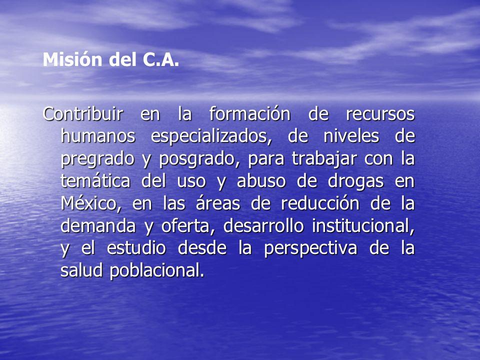 Misión del C.A. Contribuir en la formación de recursos humanos especializados, de niveles de pregrado y posgrado, para trabajar con la temática del us