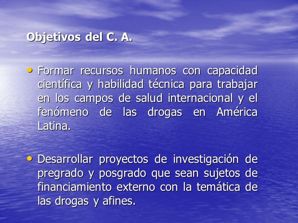 Objetivos del C. A. Formar recursos humanos con capacidad científica y habilidad técnica para trabajar en los campos de salud internacional y el fenóm