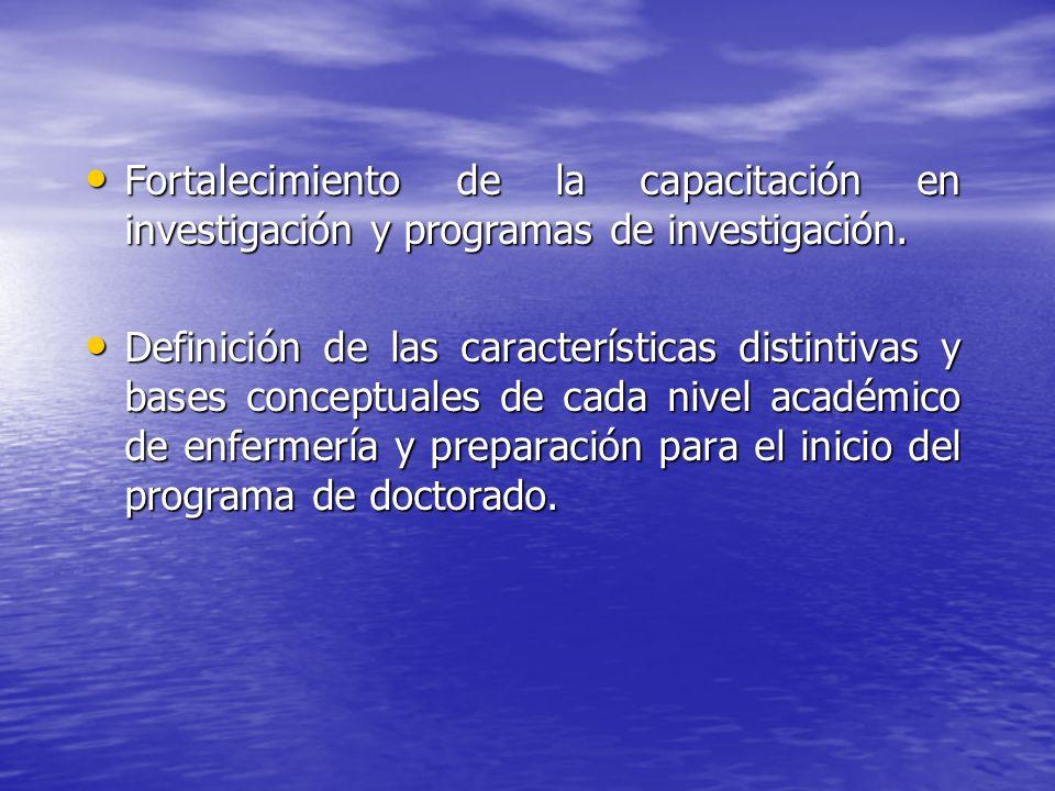 Fortalecimiento de la capacitación en investigación y programas de investigación. Fortalecimiento de la capacitación en investigación y programas de i