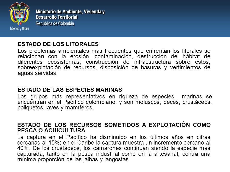 Ministerio de Ambiente, Vivienda y Desarrollo Territorial República de Colombia Ministerio de Ambiente, Vivienda y Desarrollo Territorial República de Colombia NORMATIVIDAD Dentro de la normatividad vigente en Colombia relacionada con la protección del medio marino, se encuentra: Constitución Política de Colombia de 1991 Decreto Ley 2811 de 1974.