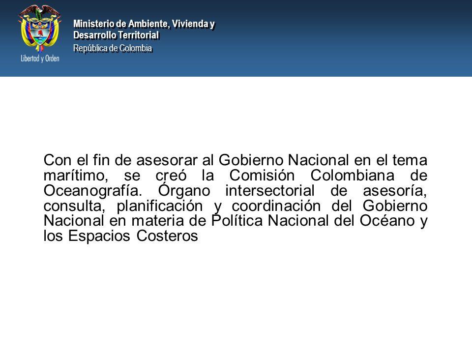Ministerio de Ambiente, Vivienda y Desarrollo Territorial República de Colombia Ministerio de Ambiente, Vivienda y Desarrollo Territorial República de Colombia EJEMPLO DEL MEJORAMIENTO DE LAS CONDICIONES Y CALIDAD DEL RECURSO MARINO SANTA MARTA - COLOMBIA