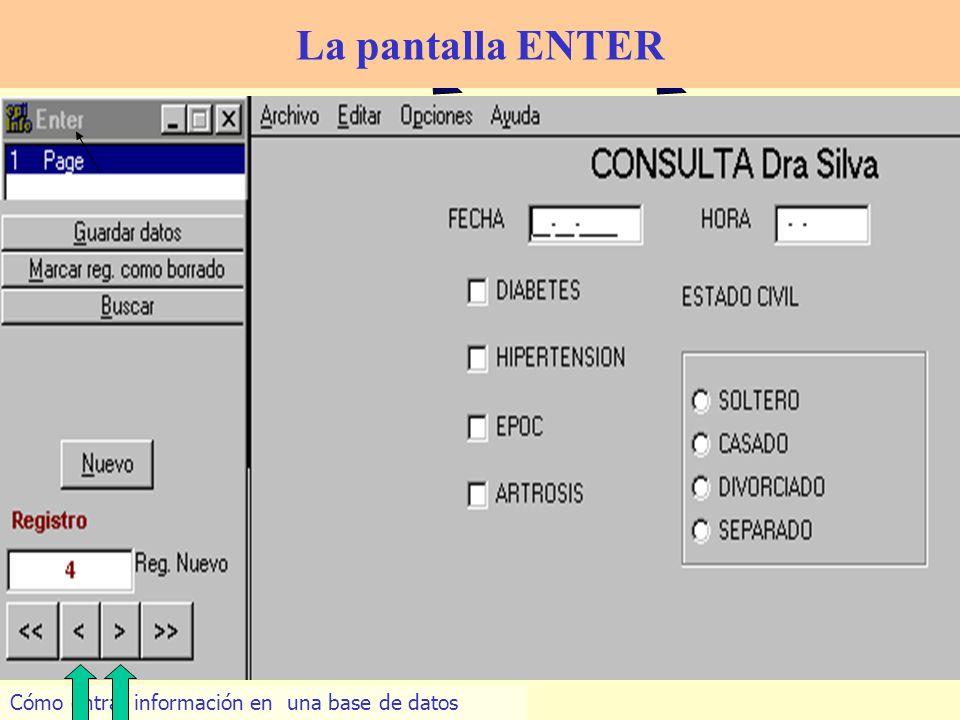 28 Cómo entrar información en una base de datos La pantalla ENTER