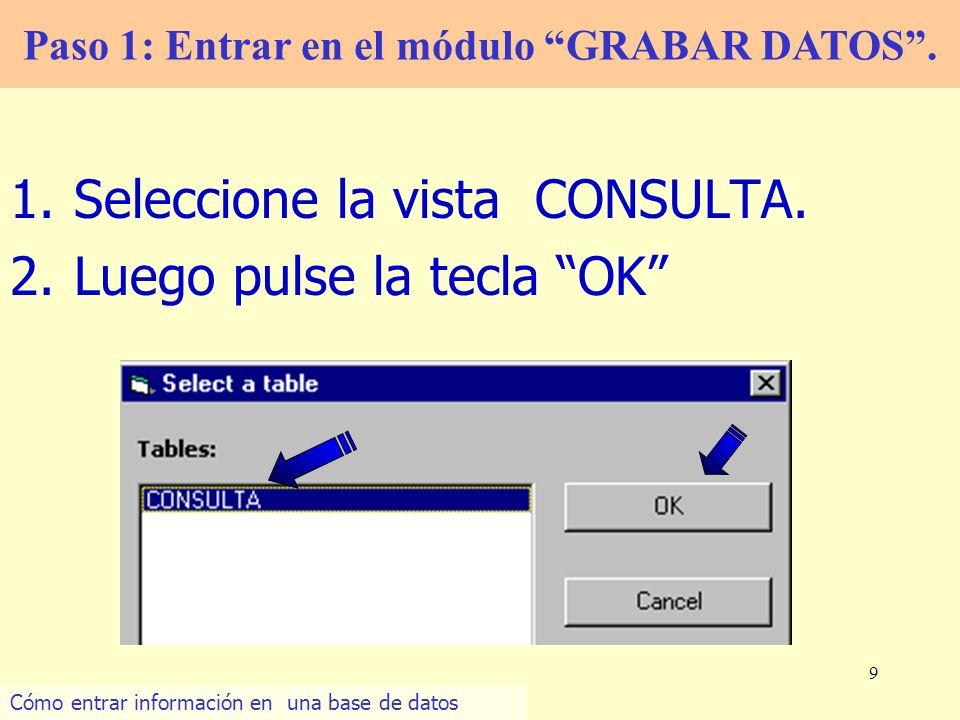 9 1.Seleccione la vista CONSULTA. 2.Luego pulse la tecla OK Paso 1: Entrar en el módulo GRABAR DATOS. Cómo entrar información en una base de datos