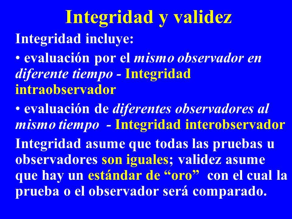 Integridad y validez Integridad incluye: evaluación por el mismo observador en diferente tiempo - Integridad intraobservador evaluación de diferentes
