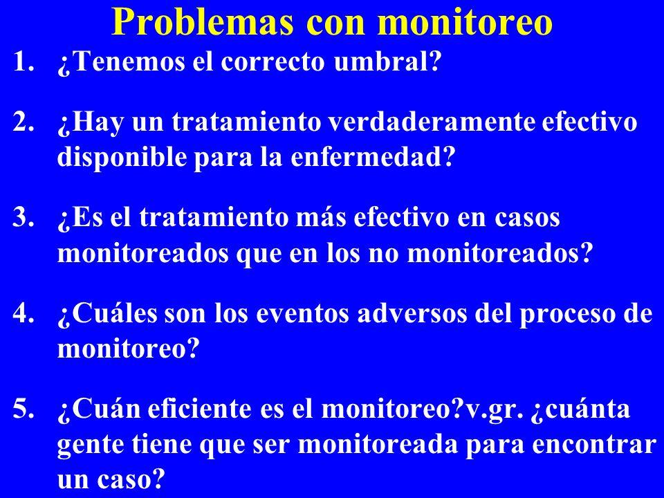 Problemas con monitoreo 1.¿Tenemos el correcto umbral? 2.¿Hay un tratamiento verdaderamente efectivo disponible para la enfermedad? 3.¿Es el tratamien