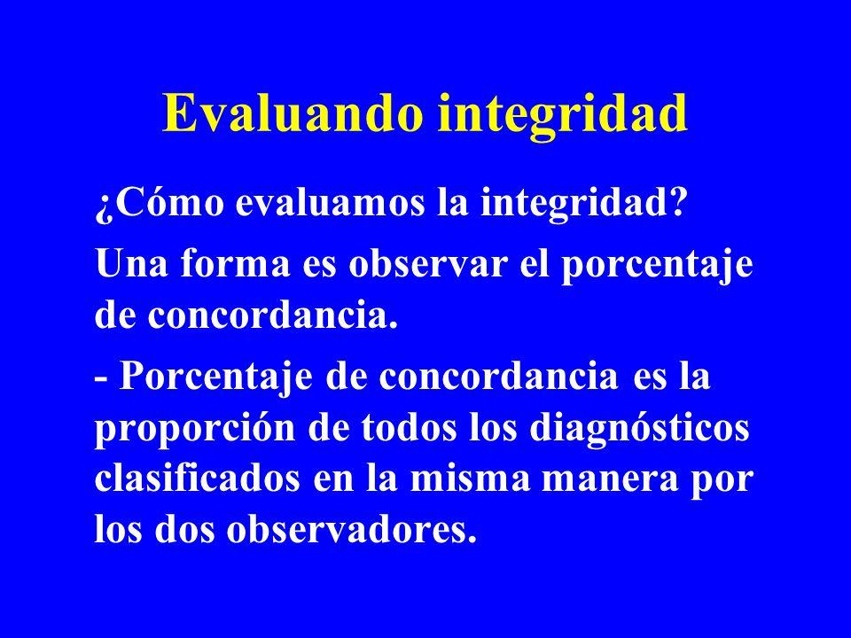 Evaluando integridad ¿Cómo evaluamos la integridad? Una forma es observar el porcentaje de concordancia. - Porcentaje de concordancia es la proporción