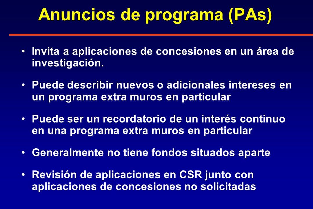 Anuncios de programa (PAs) Invita a aplicaciones de concesiones en un área de investigación.