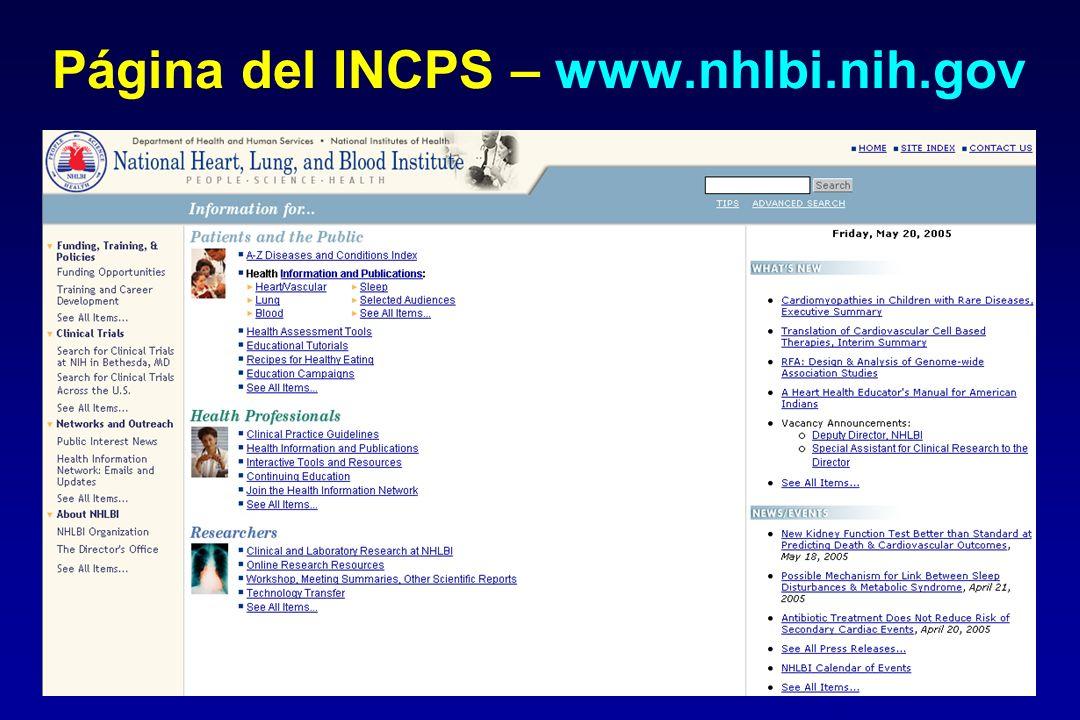 Página del INCPS – www.nhlbi.nih.gov