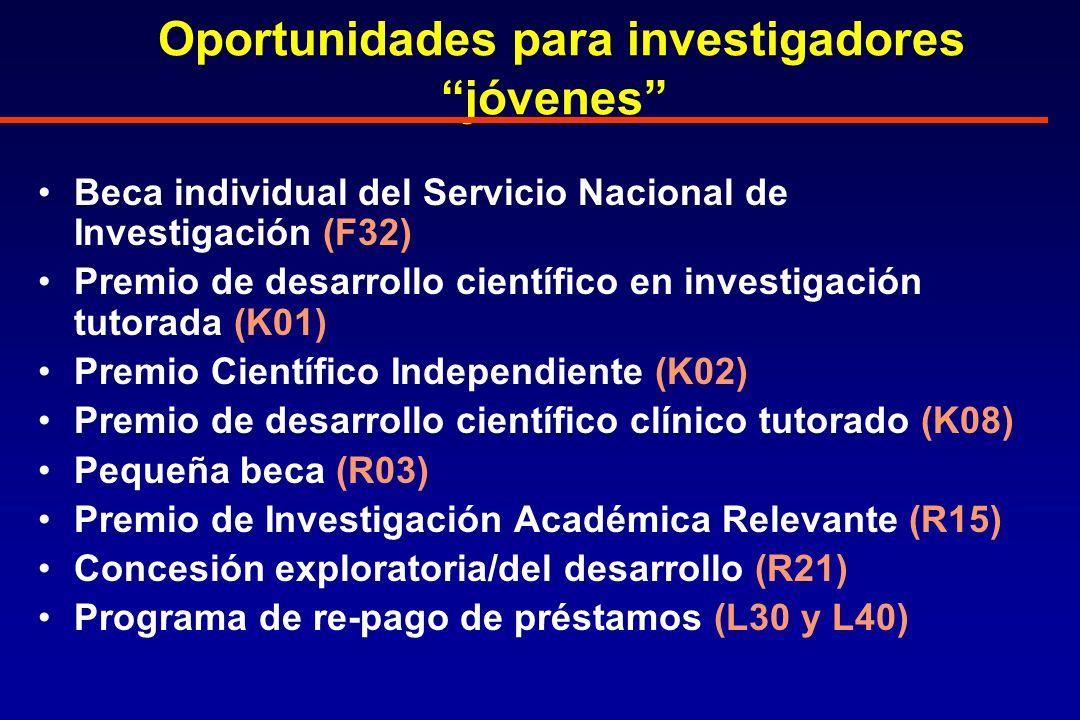 Oportunidades para investigadores jóvenes Beca individual del Servicio Nacional de Investigación (F32) Premio de desarrollo científico en investigación tutorada (K01) Premio Científico Independiente (K02) Premio de desarrollo científico clínico tutorado (K08) Pequeña beca (R03) Premio de Investigación Académica Relevante (R15) Concesión exploratoria/del desarrollo (R21) Programa de re-pago de préstamos (L30 y L40)