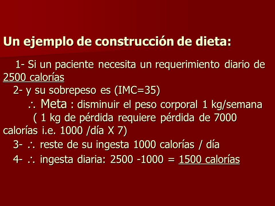 Un ejemplo de construcción de dieta: 1- Si un paciente necesita un requerimiento diario de 2500 calorías 2- y su sobrepeso es (IMC=35) Meta : disminui