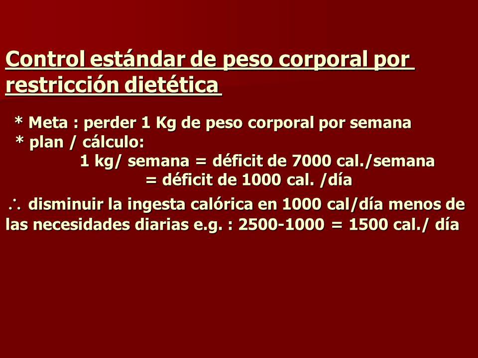 Control estándar de peso corporal por restricción dietética * Meta : perder 1 Kg de peso corporal por semana * plan / cálculo: 1 kg/ semana = déficit