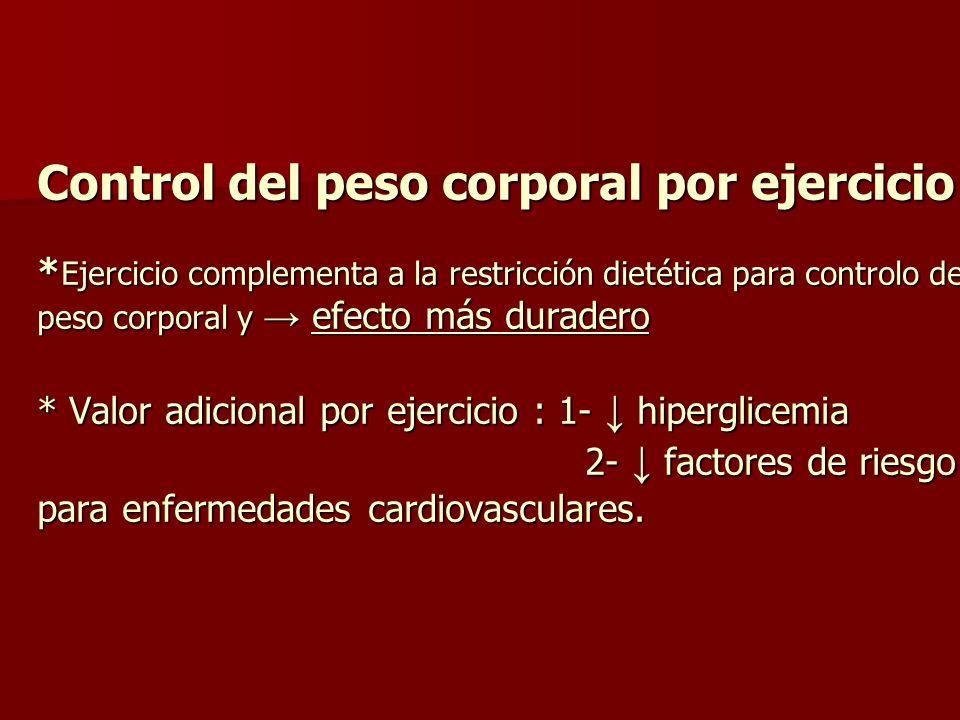 Control del peso corporal por ejercicio * Ejercicio complementa a la restricción dietética para controlo del peso corporal y efecto más duradero * Val