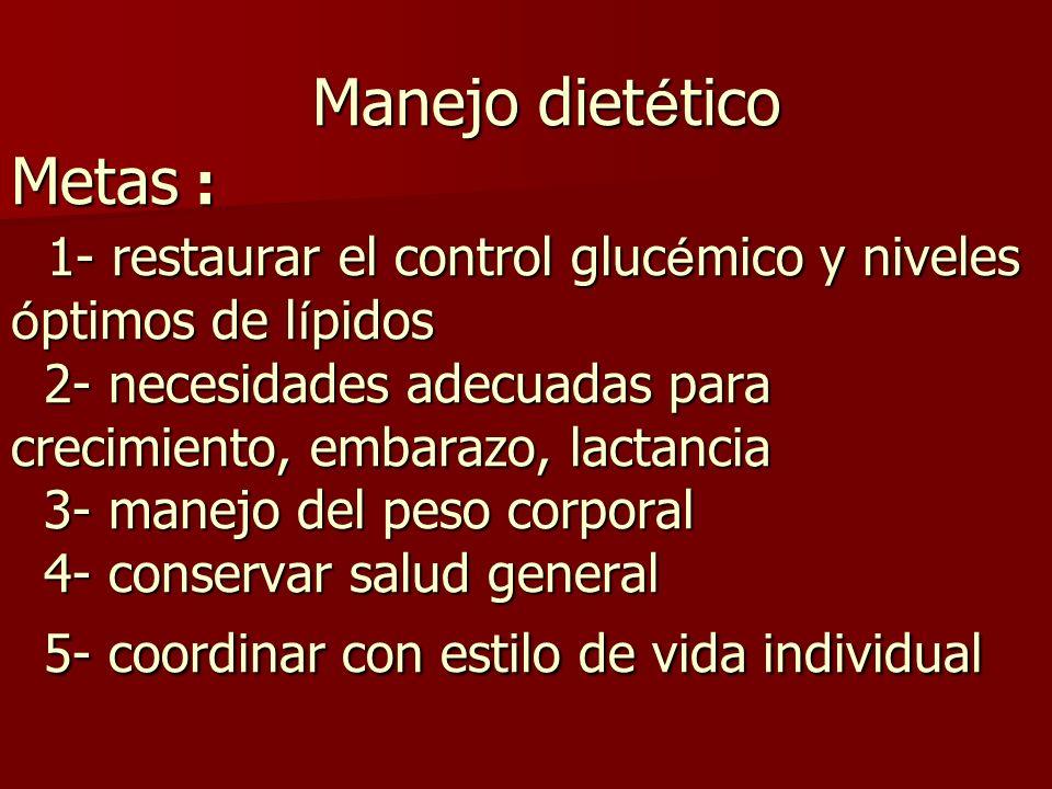 Manejo diet é tico Metas : 1- restaurar el control gluc é mico y niveles ó ptimos de l í pidos 2- necesidades adecuadas para crecimiento, embarazo, la