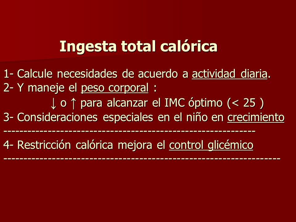 Ingesta total calórica ( cont.) 5- Contenido total calórico = sum a de cal/gr: (gr HC x 4 ) + ( gr grasa x 9) + ( gr proteina x 4) 6- Distribución calórica ( %) : HC / Grasa / Proteina ( HC : 50-70%) / ( grasa 20-25% ) / (proteina 15 %) Ingesta total calórica ( cont.) 5- Contenido total calórico = sum a de cal/gr: (gr HC x 4 ) + ( gr grasa x 9) + ( gr proteina x 4) 6- Distribución calórica ( %) : HC / Grasa / Proteina ( HC : 50-70%) / ( grasa 20-25% ) / (proteina 15 %)