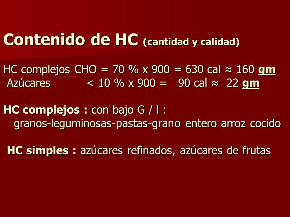 Contenido de HC (cantidad y calidad) HC complejos CHO = 70 % x 900 = 630 cal 160 gm Azúcares < 10 % x 900 = 90 cal 22 gm HC complejos : con bajo G / l