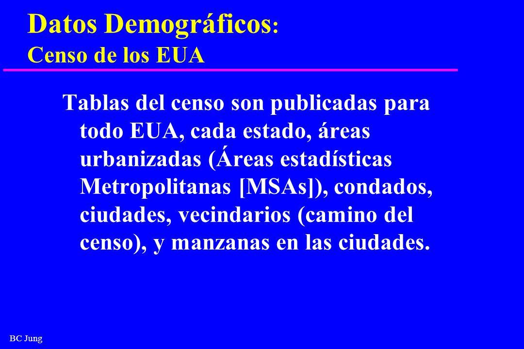 BC Jung Datos Demográficos : Censo de los EUA Tablas del censo son publicadas para todo EUA, cada estado, áreas urbanizadas (Áreas estadísticas Metrop