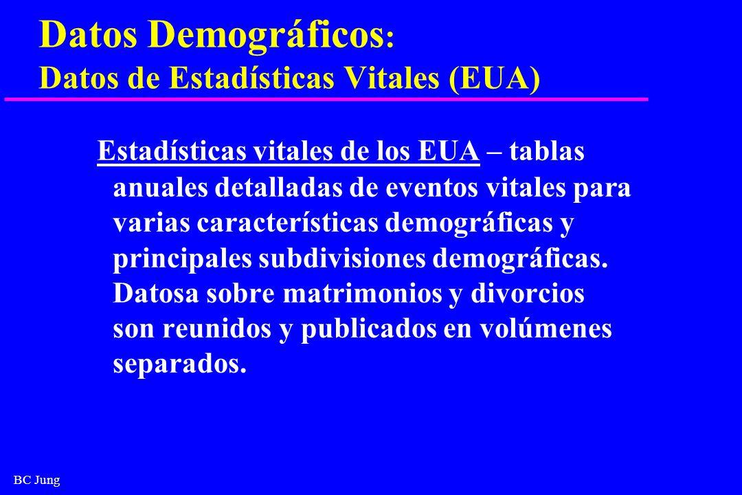 BC Jung Datos Demográficos : Datos de Estadísticas Vitales (EUA) Estadísticas vitales de los EUA – tablas anuales detalladas de eventos vitales para v