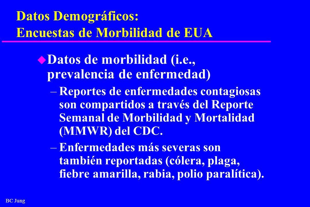 BC Jung Datos Demográficos: Encuestas de Morbilidad de EUA u Datos de morbilidad (i.e., prevalencia de enfermedad) –Reportes de enfermedades contagios