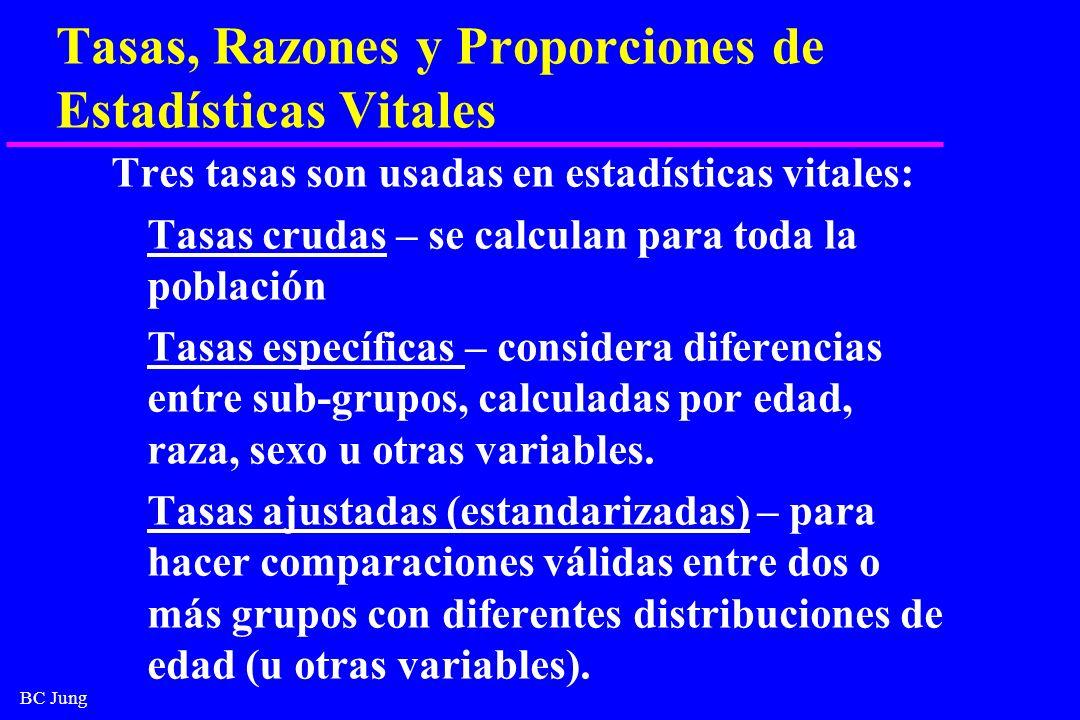 BC Jung Tasas, Razones y Proporciones de Estadísticas Vitales Tres tasas son usadas en estadísticas vitales: Tasas crudas – se calculan para toda la p