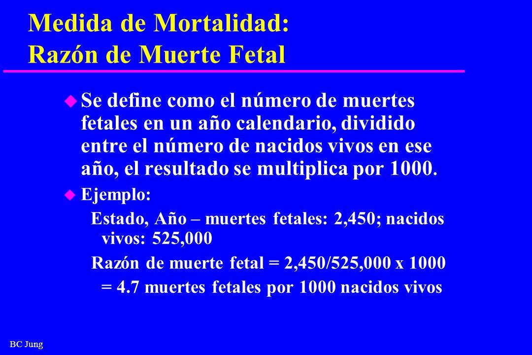 BC Jung Medida de Mortalidad: Razón de Muerte Fetal u Se define como el número de muertes fetales en un año calendario, dividido entre el número de na