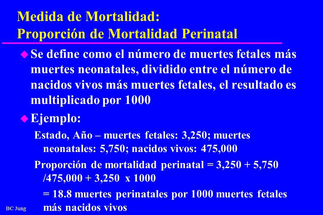 BC Jung Medida de Mortalidad: Proporción de Mortalidad Perinatal u Se define como el número de muertes fetales más muertes neonatales, dividido entre