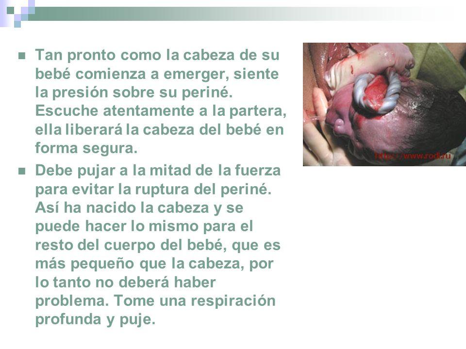 Tan pronto como la cabeza de su bebé comienza a emerger, siente la presión sobre su periné. Escuche atentamente a la partera, ella liberará la cabeza