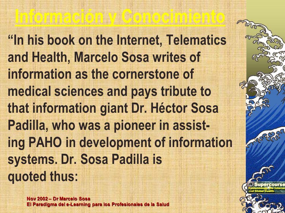 Nov 2002 – Dr Marcelo Sosa El Paradigma del e-Learning para los Profesionales de la Salud In his book on the Internet, Telematics and Health, Marcelo