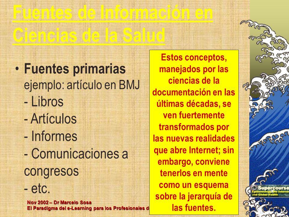 Nov 2002 – Dr Marcelo Sosa El Paradigma del e-Learning para los Profesionales de la Salud Fuentes de Información en Ciencias de la Salud Fuentes prima