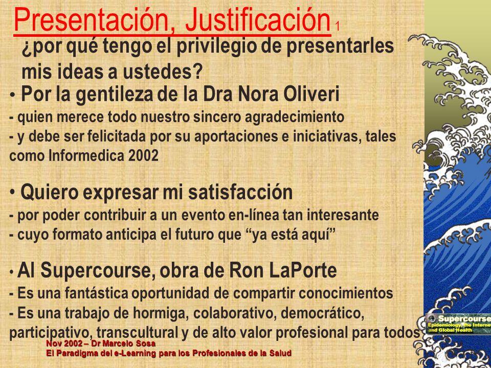 Nov 2002 – Dr Marcelo Sosa El Paradigma del e-Learning para los Profesionales de la Salud Presentación, Justificación 1 ¿por qué tengo el privilegio d