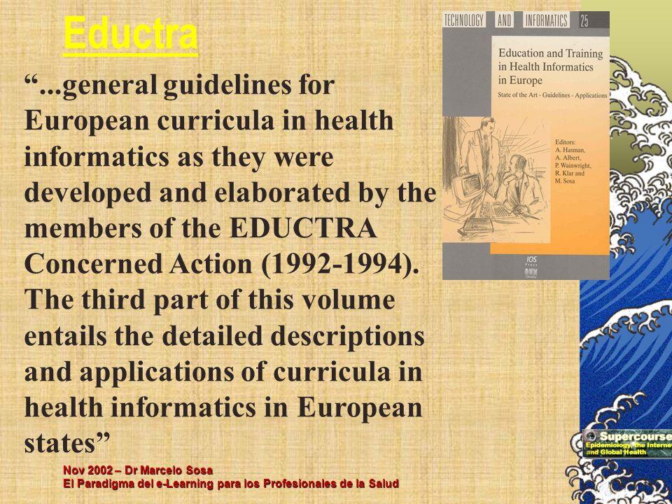Nov 2002 – Dr Marcelo Sosa El Paradigma del e-Learning para los Profesionales de la Salud...general guidelines for European curricula in health inform