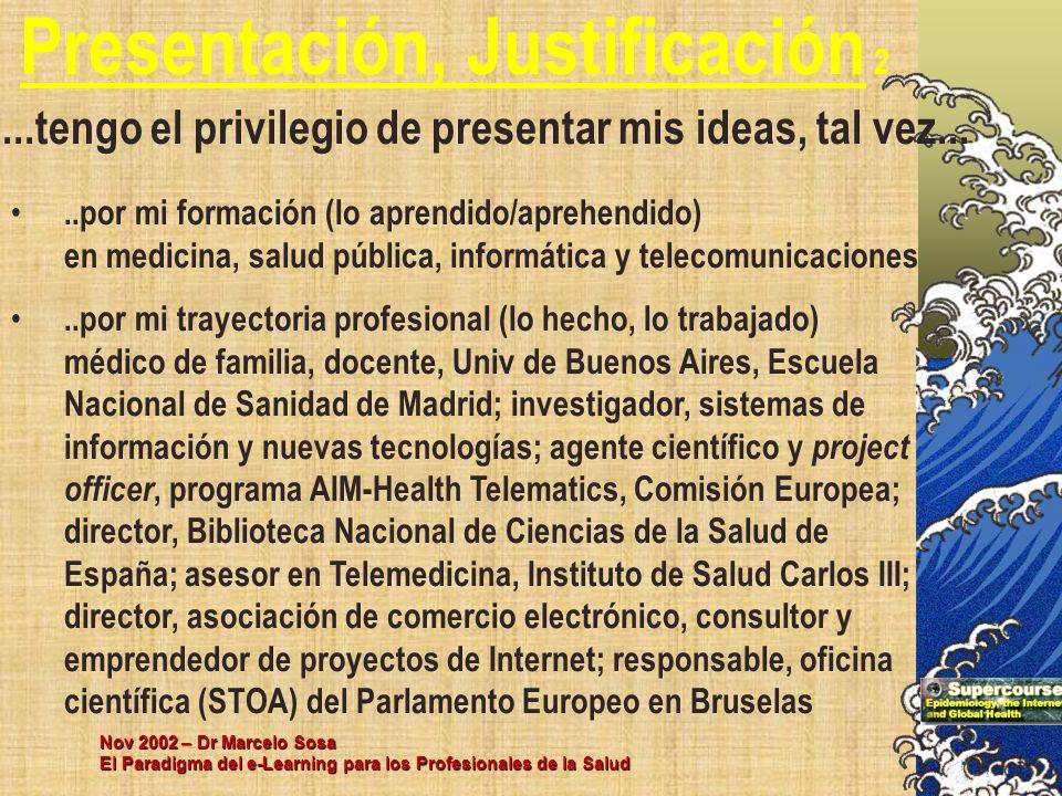 Nov 2002 – Dr Marcelo Sosa El Paradigma del e-Learning para los Profesionales de la Salud Presentación, Justificación 2..por mi formación (lo aprendid