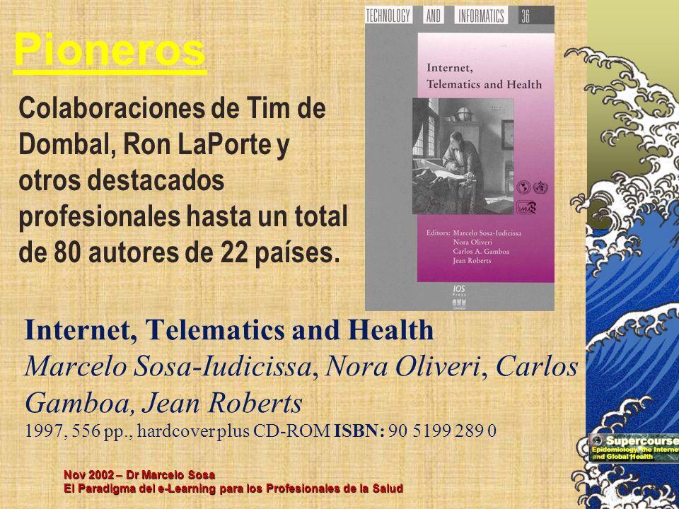 Nov 2002 – Dr Marcelo Sosa El Paradigma del e-Learning para los Profesionales de la Salud Internet, Telematics and Health Marcelo Sosa-Iudicissa, Nora
