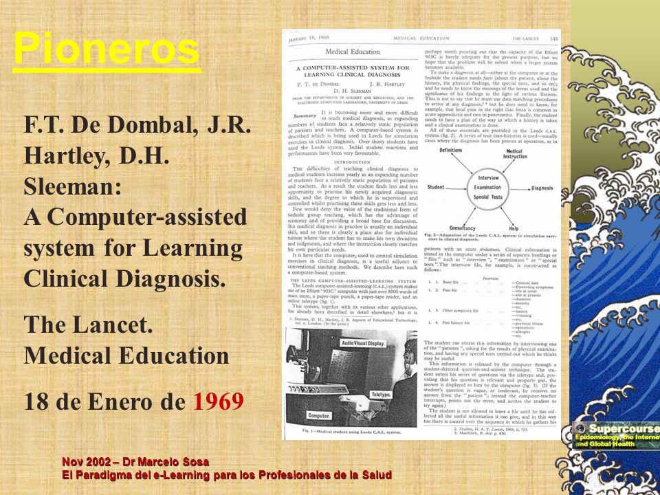 Nov 2002 – Dr Marcelo Sosa El Paradigma del e-Learning para los Profesionales de la Salud Pioneros F.T. De Dombal, J.R. Hartley, D.H. Sleeman: A Compu