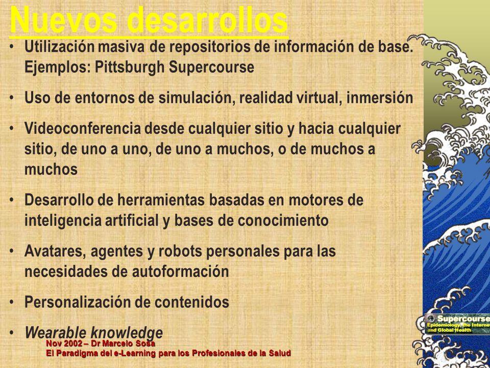 Nov 2002 – Dr Marcelo Sosa El Paradigma del e-Learning para los Profesionales de la Salud Utilización masiva de repositorios de información de base. E