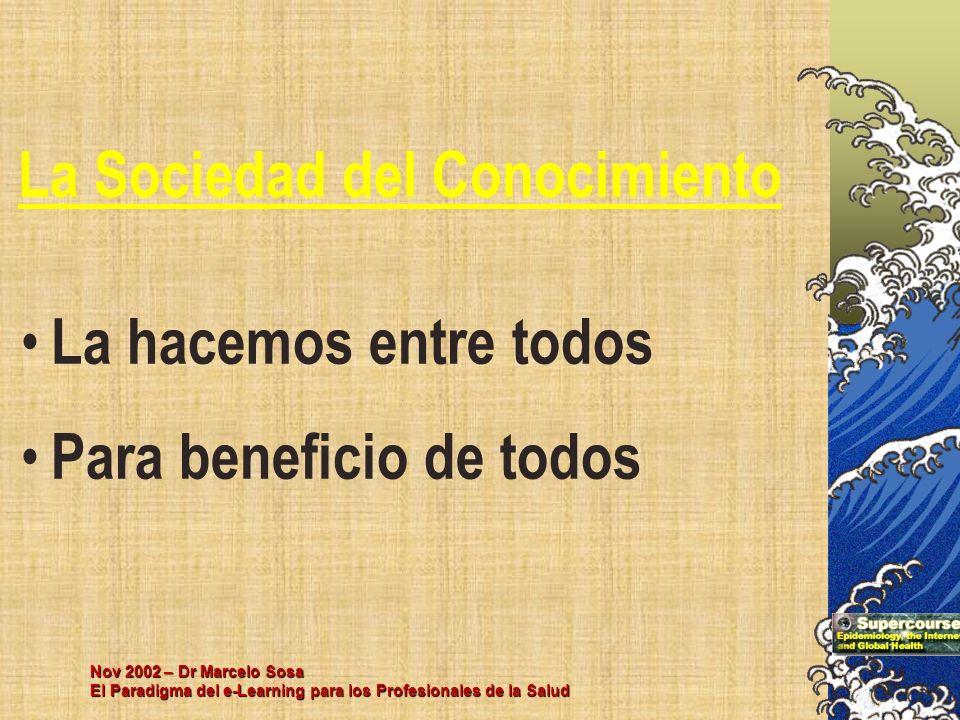 Nov 2002 – Dr Marcelo Sosa El Paradigma del e-Learning para los Profesionales de la Salud La Sociedad del Conocimiento La hacemos entre todos Para ben