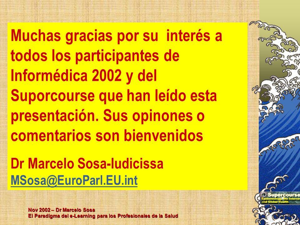 Nov 2002 – Dr Marcelo Sosa El Paradigma del e-Learning para los Profesionales de la Salud Muchas gracias por su interés a todos los participantes de I