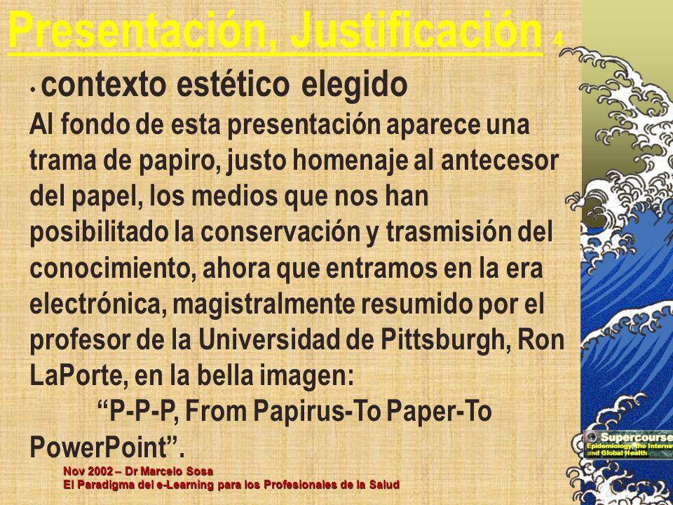 Nov 2002 – Dr Marcelo Sosa El Paradigma del e-Learning para los Profesionales de la Salud Presentación, Justificación 4 contexto estético elegido Al f