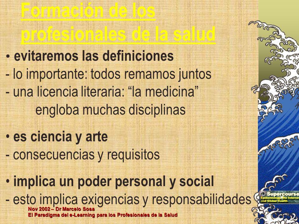 Nov 2002 – Dr Marcelo Sosa El Paradigma del e-Learning para los Profesionales de la Salud Formación de los profesionales de la salud evitaremos las de