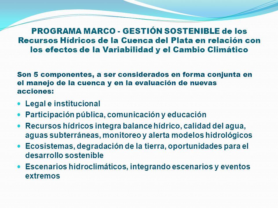 PROGRAMA MARCO - GESTIÓN SOSTENIBLE de los Recursos Hídricos de la Cuenca del Plata en relación con los efectos de la Variabilidad y el Cambio Climáti