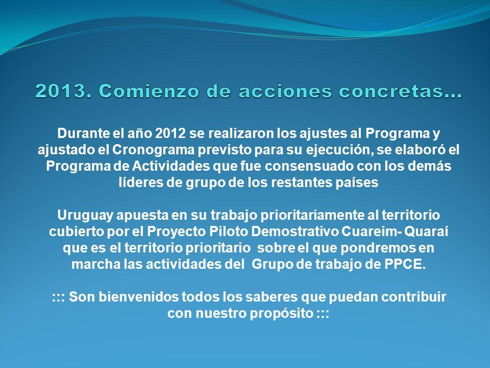 Durante el año 2012 se realizaron los ajustes al Programa y ajustado el Cronograma previsto para su ejecución, se elaboró el Programa de Actividades q