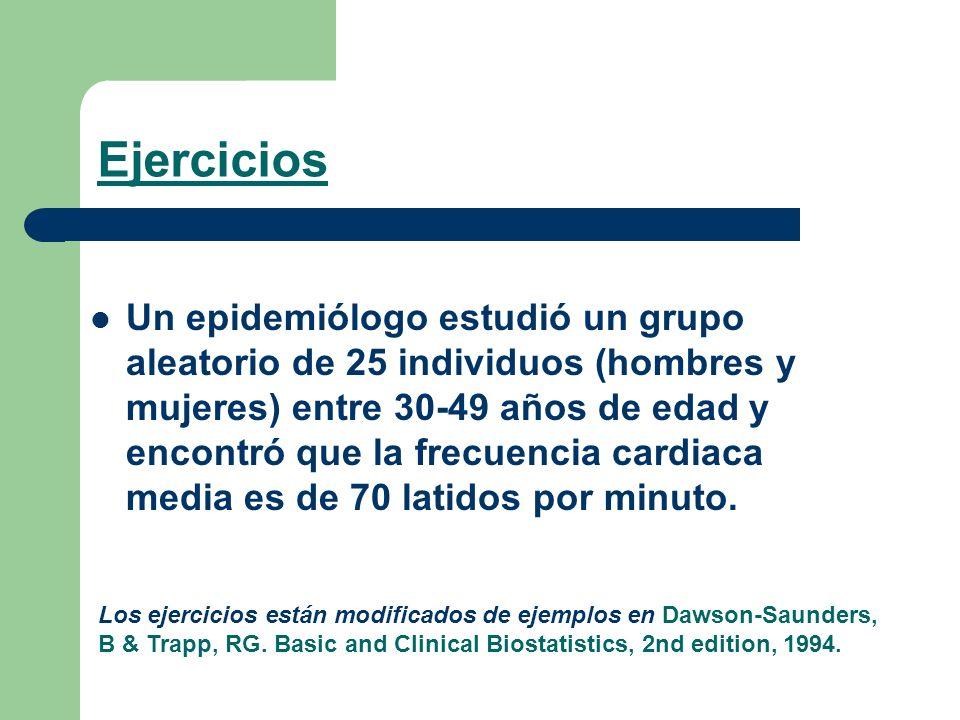 Ejercicios Un epidemiólogo estudió un grupo aleatorio de 25 individuos (hombres y mujeres) entre 30-49 años de edad y encontró que la frecuencia cardi