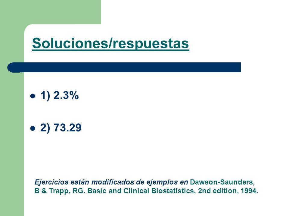 1) 2.3% 2) 73.29 Soluciones/respuestas Ejercicios están modificados de ejemplos en Dawson-Saunders, B & Trapp, RG. Basic and Clinical Biostatistics, 2