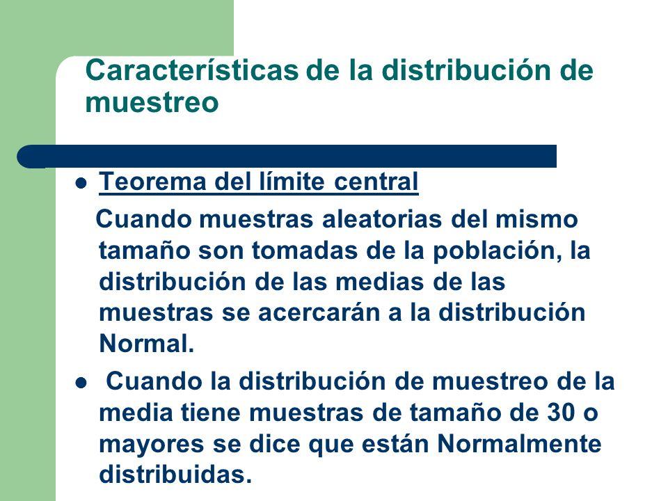 Características de la distribución de muestreo Teorema del límite central Cuando muestras aleatorias del mismo tamaño son tomadas de la población, la
