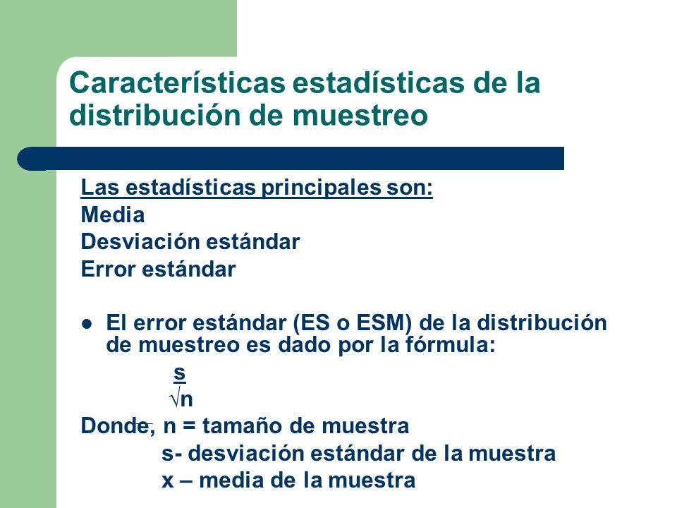 Características estadísticas de la distribución de muestreo Las estadísticas principales son: Media Desviación estándar Error estándar El error estánd