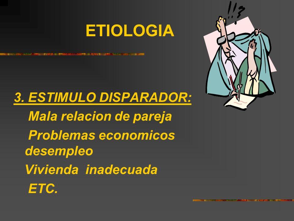 ETIOLOGIA 3. ESTIMULO DISPARADOR: Mala relacion de pareja Problemas economicos desempleo Vivienda inadecuada ETC.