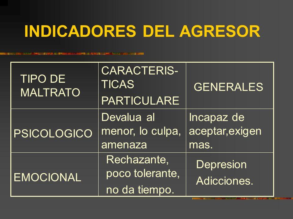 INDICADORES DEL AGRESOR Depresion Adicciones. Rechazante, poco tolerante, no da tiempo. EMOCIONAL Incapaz de aceptar,exigen mas. Devalua al menor, lo