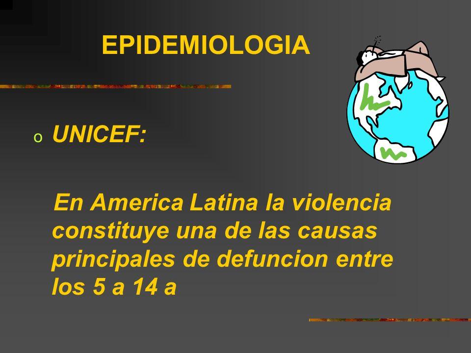 EPIDEMIOLOGIA o UNICEF: En America Latina la violencia constituye una de las causas principales de defuncion entre los 5 a 14 a